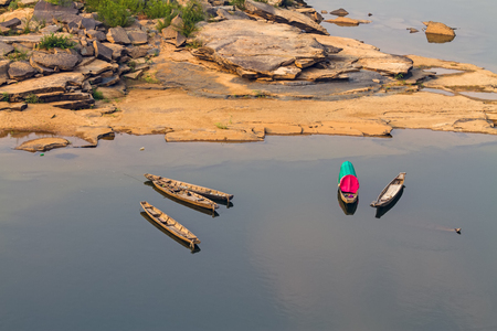 mekong river: Wooden boat  mekong river. Thailand and Laos in top view