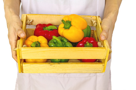 lady hand: Hand of woman show colorful of fresh sweet bell pepper capsicum   in wooden basket