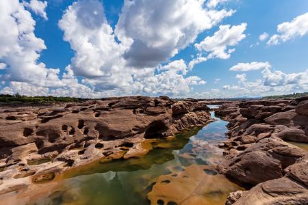 unseen: Unseen Thailand stone canyon  at Sam Pan Bok in Mae Kong river. Ubonratchathani Province ,Thailand