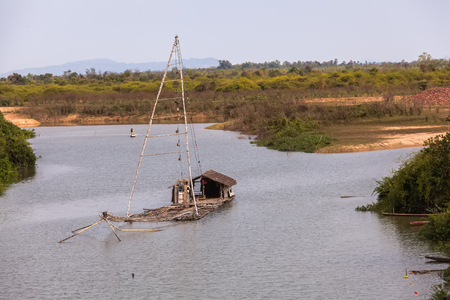 shrimp boat: Thai style fishing boat in lake, Net Fishing Thailand, Thailand Shrimp Fishing, at Mekong river Thailand.