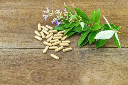trifolia: Close up fresh flower Vitex trifolia Linn or Indian Privet with green leaf  is herb in Thailand and drug pill on wooden background