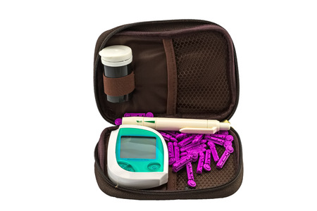 blood glucose meter: blood glucose meter, the blood sugar value is measured on a finger pack in black case on white background. Stock Photo