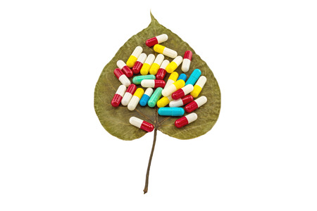 pipal: Colorful of pills on dry Sacred fig leaf (Ficus religiosa L. , Pipal Tree, Bohhi Tree, Bo Tree, Peepul ) on white background