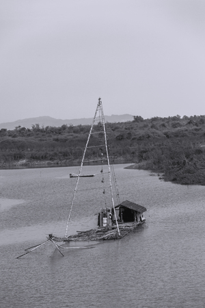 shrimp boat: Thai style fishing boat in lake, Net Fishing Thailand, Thailand Shrimp Fishing, at Mekong river Thailand.