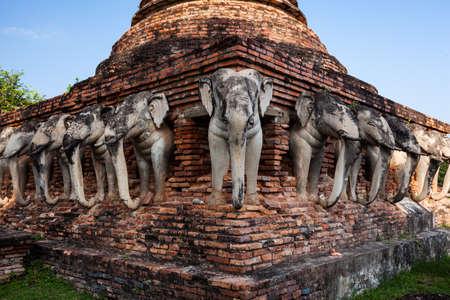 sukhothai: Wat Chang lom Sukhothai Historical Park ,Sukhothai ,Thailand Stock Photo