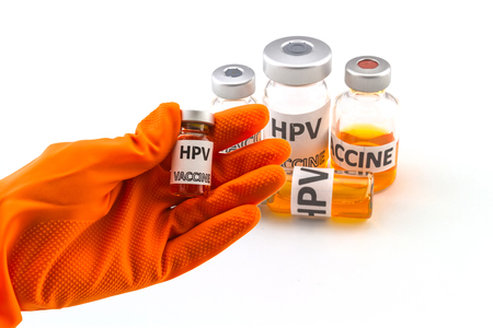 Bottle vaccine of Human papillomavirus (HPV) vaccine on white background