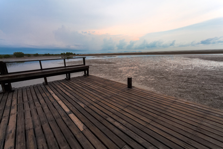 prong: Wooden bridge at Tung Prong Thong,Golden Mangrove Field,Pra Sae, Rayong, Thailand. Stock Photo