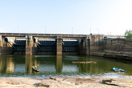 thailand flood: The Pak Mun Dam ,constructed on the Mun River,a tributary of the Mekong River, in Ubon Ratchathani Province,Thailand.