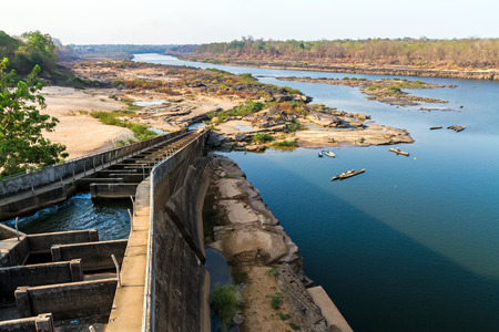 tributary: The Pak Mun Dam ,constructed on the Mun River,a tributary of the Mekong River, in Ubon Ratchathani Province,Thailand.