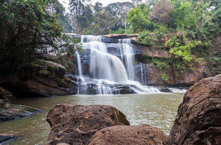 Tad Huang Waterfall the most beautiful of Phu Suan Sai, become the murder line between Thai-Laos, water fall in deep forest at at Phu Suan Sai National Park, Loei Province