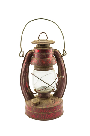 hurricane lamp: Old classic dusty oil lamp isolated on white background