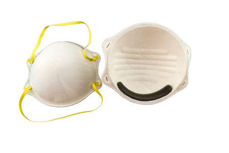 Close up of white mask stack on white background Stock Photo