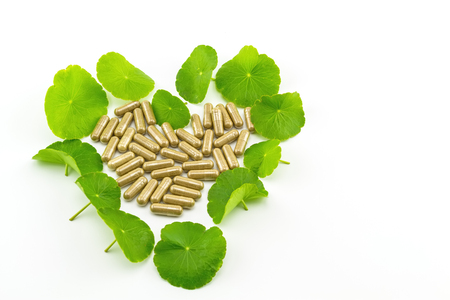 holistic view: Heart shape of green Asiatic Pennywort (Centella asiatica , Hydrocotyle umbellata L or Water pennywort ) and colorful pill on white background Stock Photo