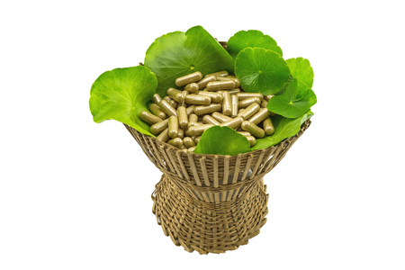inflammatory: Close up green Asiatic Pennywort (Centella asiatica , Hydrocotyle umbellata L or Water pennywort )  and colorful pill in bamboo basket on white background
