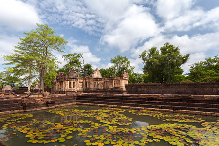 generality: Prasat Muang Tam historical park is Castle Rock old Architecture about a thousand years ago at Buriram Province,Thailand ( Generality in Thailand,and kind of art decorated in Buddhist church,temple pavilion,temple hall.They are public) Stock Photo