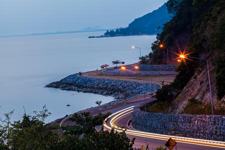 curve road: Beautiful Curve Road in Thailand , Seaside and near mountain at Kung Wi Marn (Nern Nang Phaya Viewpoint) at Chanthaburi Province,Thailand.