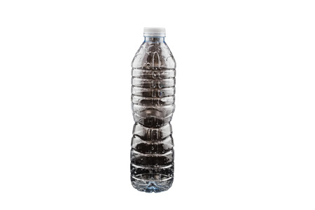 Plastic water bottle with blank label. Isolated on white background .Saved with clipping path. Stock Photo