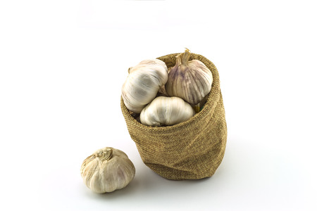 sisal: Close up dry garlic in sacks sisal isolated on white background on top view
