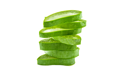 aloe barbadensis: Slice Aloe Vera (Aloe barbadensis Mill.,Star cactus,  Aloin, Jafferabad or Barbados) isolated on white background.Saved with clipping path.