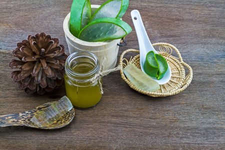Fresh aloe vera gel on ceramic  spoon with aloe  vera essential oil and pine   on wooden table