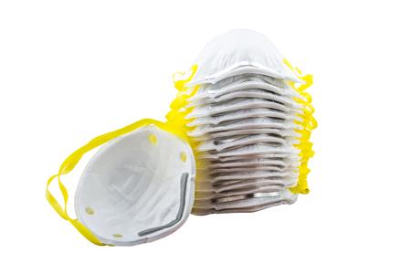 Close up of white mask isolated on white background. Stock Photo