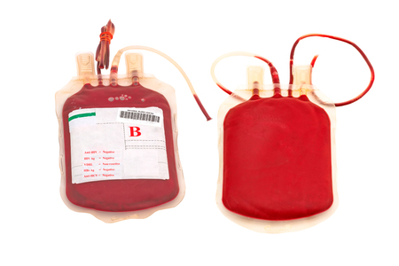 Close up bag of blood and plasma  group B and rubber tube isolated on white background Stock Photo