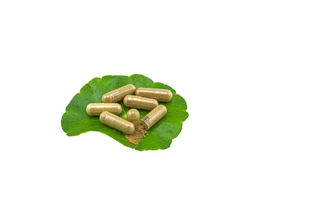 Green Asiatic Pennywort (Centella asiatica ) and yellow pill capsules on white background.