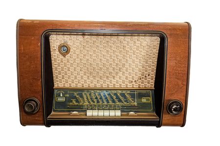 Close up old classic radio isolated on white