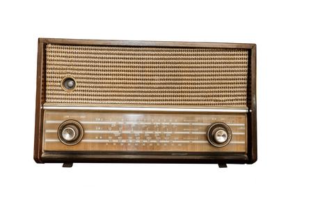 Vecchia radio classica isolata su bianco Archivio Fotografico