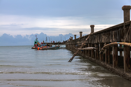 The old bridge for boat fishing, Chaolao Beach