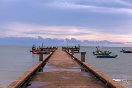 The old bridge for boat fishing, Chaolao Beach ,Chanthaburi, Thailand Banco de Imagens