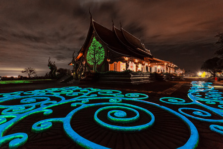 Colorful of light  at Sirindhorn Wararam Phu Prao Temple (Wat Phu Prao)in Ubon Ratchathani province, Thailand.