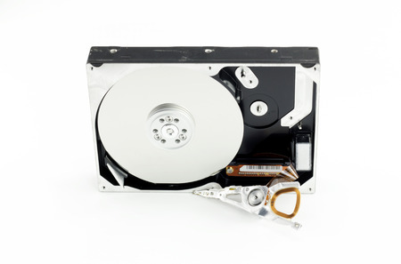 harddisk: old hard-disk drive break isolate white background