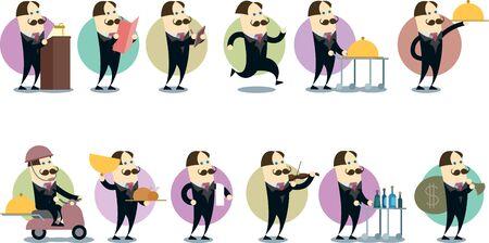 diligence: A handyman waiter - flat style Illustration