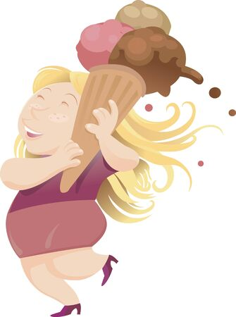 ice cream woman: A happy woman walking with her mega ice cream cone Illustration