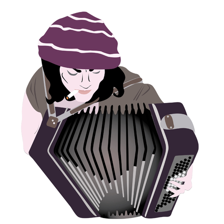 street musician playing the accordion