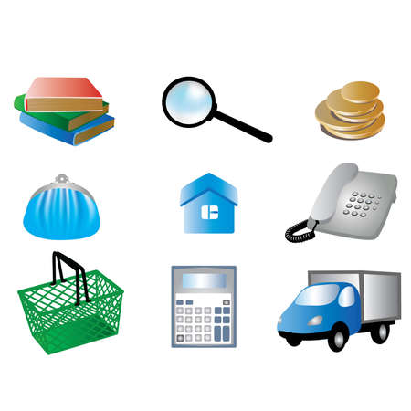 pictures for the site - books, magnifying glass, money, car, purse, basket, house, telephone, calculator.