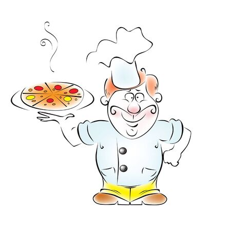 Illustration cooks the pizza in his hand