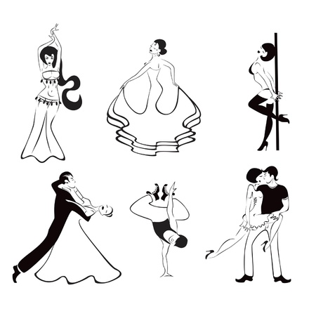 Illustration of the six major dance styles: ballroom dance, hip hop, rumba, belly dancing, flamenco, erotic dance Stock Vector - 9654001