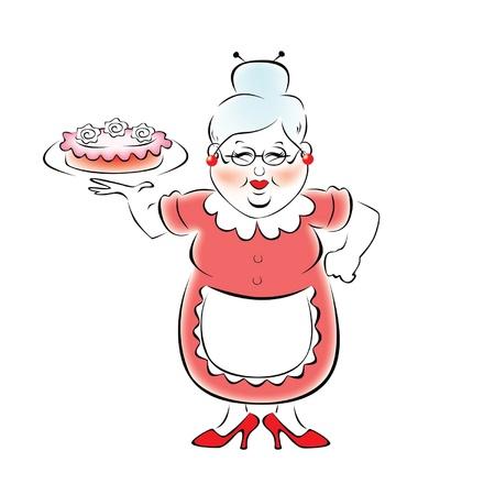 Oma einen köstlichen Kuchen gebacken Vektorgrafik
