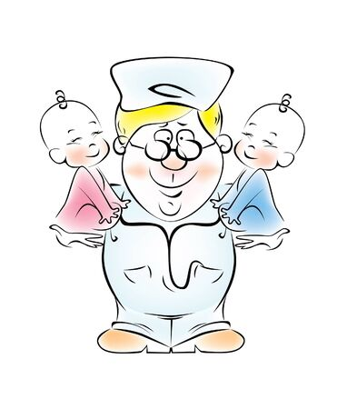 pediatrician: Illustration of a pediatrician, who is holding the twins.