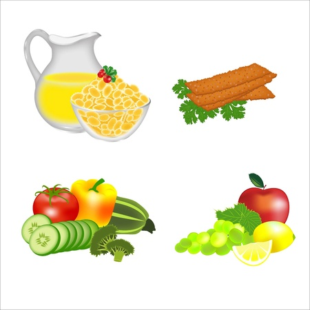 plate of food: Dietary food: cereals, breads, fruits, vegetables