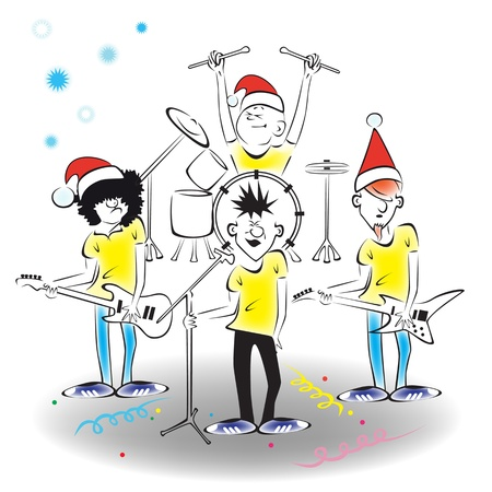 New Year's concert of the musical group on stage. Stock Vector - 10881478