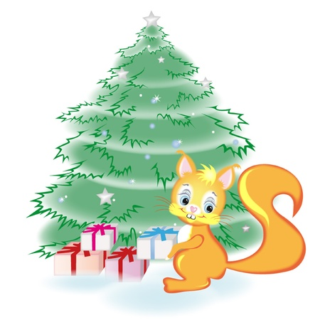 Squirrel has the gifts under the tree Vector