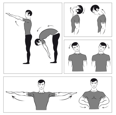stretches: vector set of gymnastic exercises