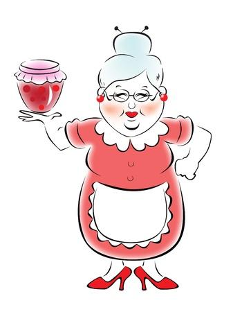 mermelada: Abuela con un tarro de mermelada Vectores