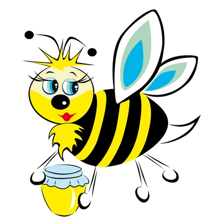 The bee is in the clutches of a jar of honey Stock Vector - 11551753