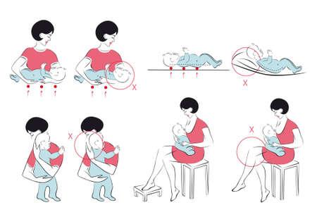 Pflege des Neugeborenen Vektorgrafik