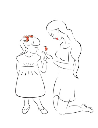 flower age: Illustration of motherhood and caring - a mother and daughter admire a flower