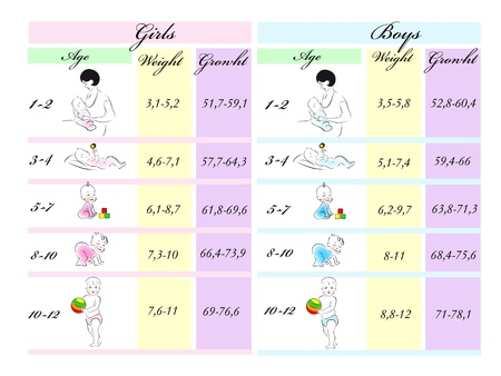 Table of model parameters of height and weight of children under one year